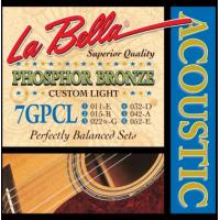La Bella Phosphor Bronze Wound 7GPCL 11-52 Custom Light